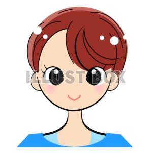 無料イラスト 女性の肩から上のイラストアイコン用にショートカット