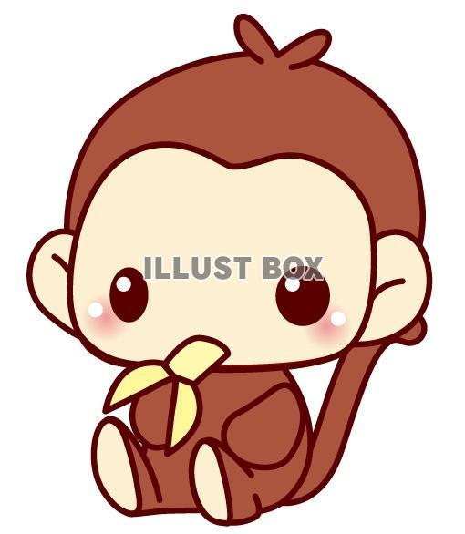 無料イラスト バナナを食べる猿のイラスト
