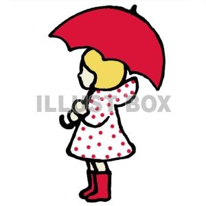 無料イラスト 傘をさす少女
