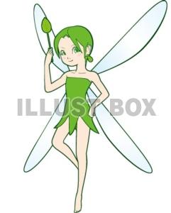 無料イラスト 緑の妖精
