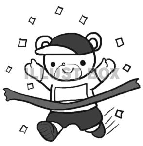 運動会 イラスト 白黒