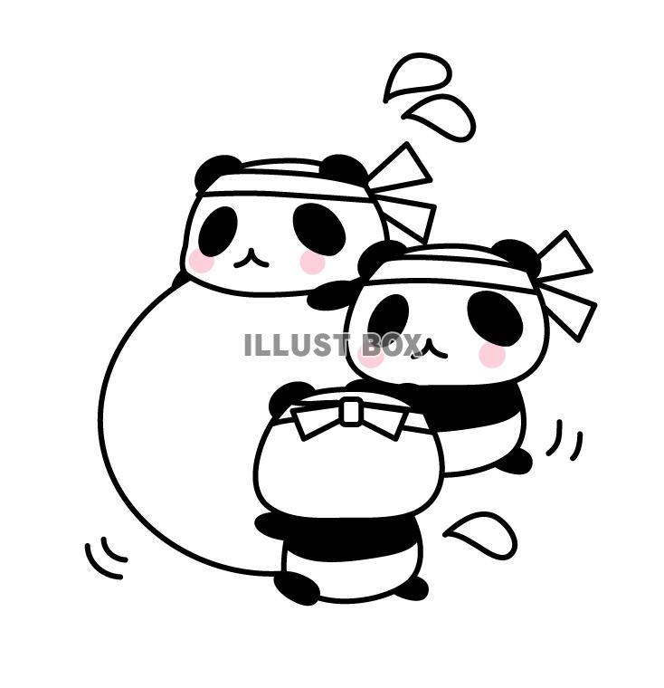 無料イラスト パンダの運動会玉転がし