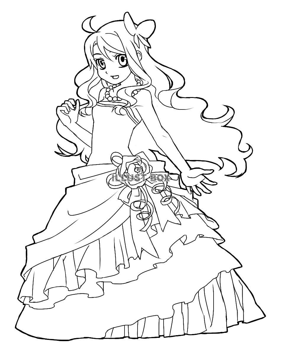 無料イラスト ドレスを着た女の子