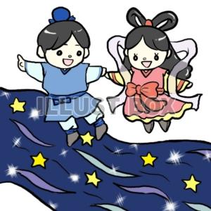 天の川の上の織姫と彦星 【七夕】