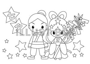 無料イラスト 七夕織姫と彦星の塗り絵