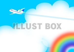 無料イラスト 入道雲と飛行機雲
