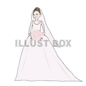 無料イラスト ウェディングドレスの花嫁