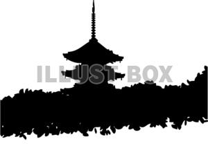 無料イラスト 京都 五重塔