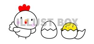 無料イラスト にわとりと卵とひよこちゃん