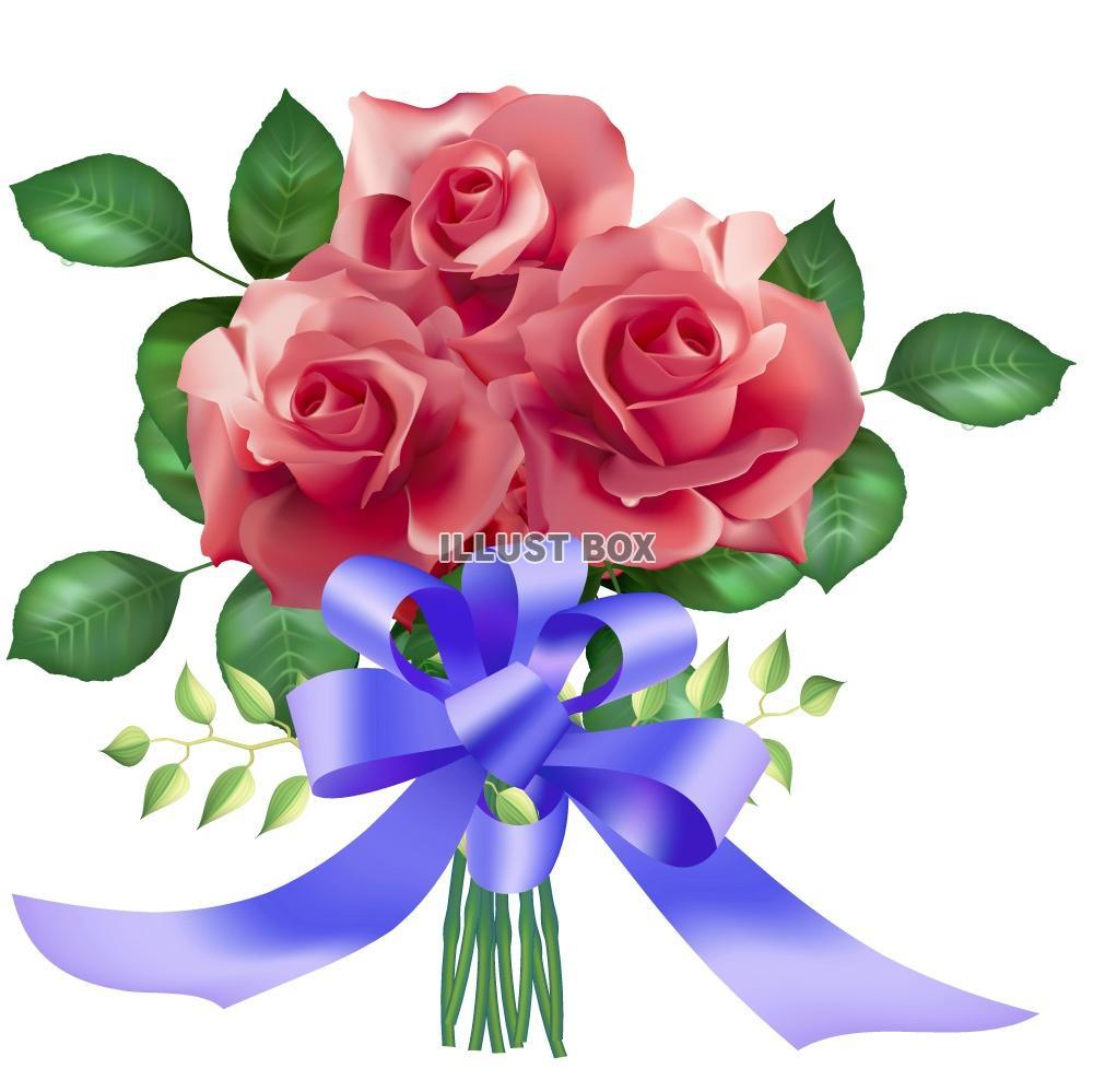 無料イラスト バラの花束とリボン