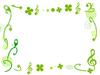グリーンのフレーム 音符とクローバー