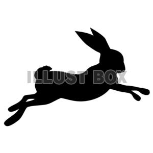 無料イラスト シルエット走るウサギ
