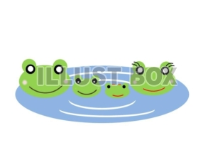 無料イラスト カエルの親子水遊び