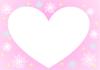 冬のピンクのハートフレーム 雪の結晶