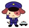 犬のおまわりさん(警察官)&パトカーのイラストカット