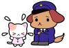 犬のおまわりさん(警察官)&迷子の子猫ちゃんイラスト