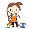 ほうきでお掃除♪女性のイラスト