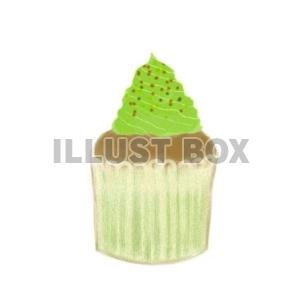無料イラスト 抹茶のカップケーキ