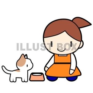 無料イラスト 猫に餌をあげる女性のイラスト