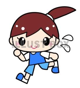 無料イラスト マラソンジョギング走る女の子のイラスト