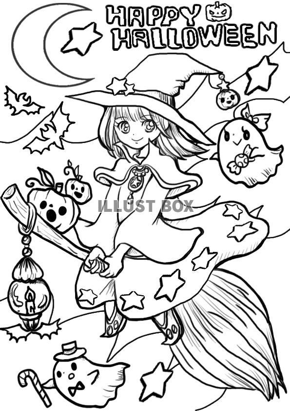 無料イラスト 空飛ぶ魔女っ子ハロウィン10月のぬりえ