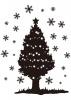 【シルエット】雪と星のクリスマスツリー