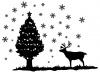 【シルエット】星のクリスマスツリーとトナカイ