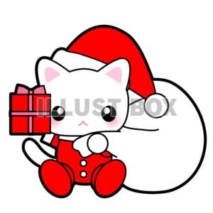 無料イラスト にゃんにゃん猫ちゃんサンタからのクリスマスプレゼント