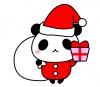 クリスマス素材・サンタクロースパンダのイラスト