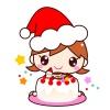 【クリスマス】女の子とクリスマスケーキのイラストカット