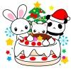 クリスマスケーキと仲良し動物達(うさぎ・猫・パンダ)のイラスト
