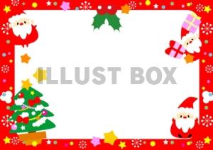 無料イラスト クリスマス小さなサンタクロース達のフレーム飾り枠