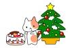 クリスマスケーキとよだれをたらした猫ちゃんイラストカット