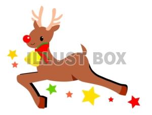無料イラスト クリスマス赤鼻のトナカイさんイラスト