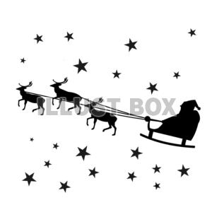 クリスマス トナカイとサンタのシルエット