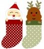 クリスマス・長靴にはいったサンタとトナカイ