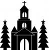 クリスマス・教会シルエット
