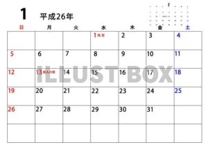 カレンダー 2014年1月カレンダー : サンプル画像は線がギザギザに ...