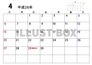カレンダー 4月カレンダー 2014 : サンプル画像は線がギザギザに ...