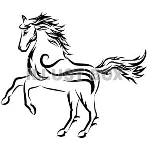 無料イラスト ワンポイントイラスト 年賀状 トライバルデザイン 馬03