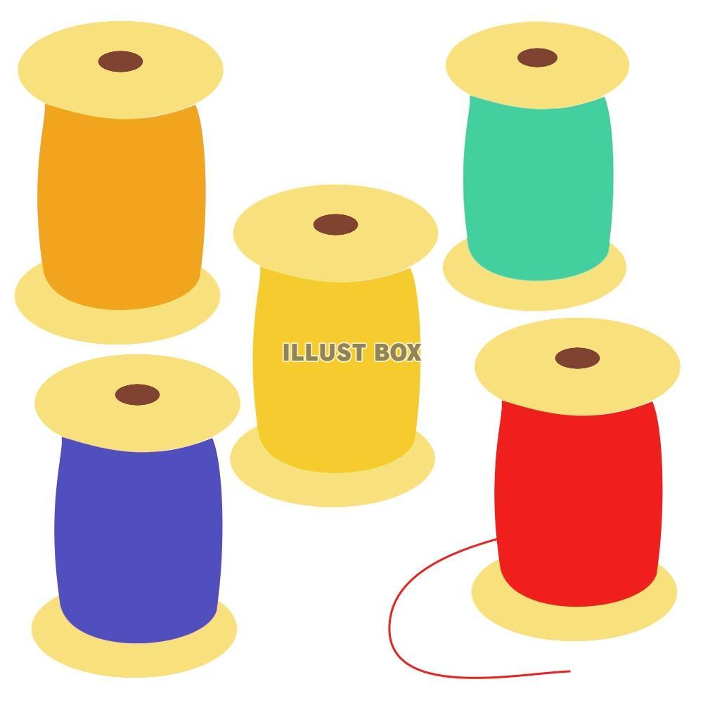 無料イラスト 五種類の糸(裁縫道具)