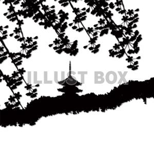 無料イラスト シルエットしだれ桜と五重の塔 京都