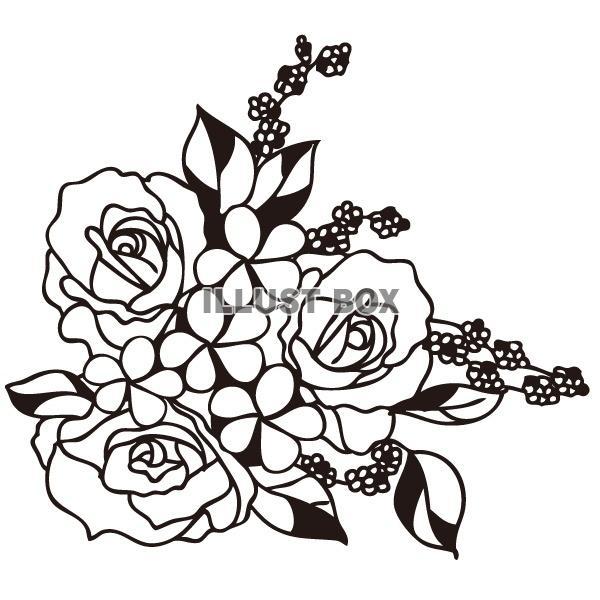 無料イラスト シルエット フラワーアレンジ 薔薇
