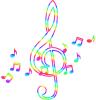虹色のト音記号と音符