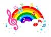 虹と音符とト音記号のイラスト