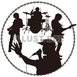 無料イラスト シルエット ロックバンド 人物 バンド