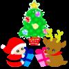 ベイビィ サンタ&トナカイ(クリスマスツリーとプレゼント)【透過PNG】