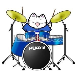 無料イラスト バンド猫 ドラム