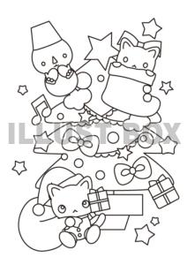 無料イラスト クリスマス猫サンタとツリーの塗り絵