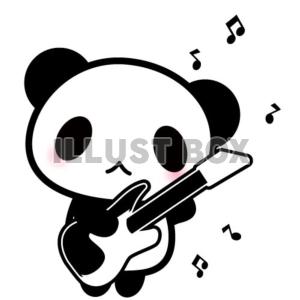 無料イラスト ベースを弾くパンダちゃんのイラスト バンド